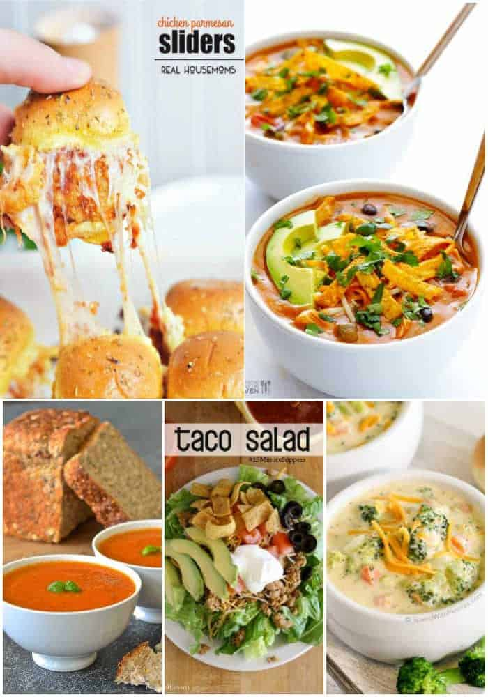Collage of soups salad and sliders