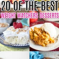 vertical collage of 6 weight watchers dessert recipes with post name as text overlay
