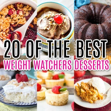 square collage of 6 weight watchers dessert recipes with post name as text overlay