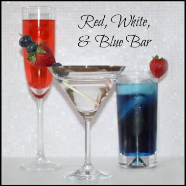 red drink, clear drink, and blue drink in glasses