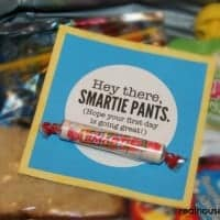 hey there smartie pants gift tag with smartie candy