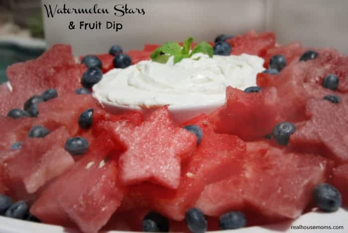 Watermelon cut as Stars with Fruit Dip