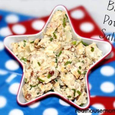 baked potato salad in star shape dish