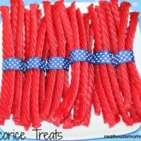 licorice bundles wrapped in ribbon