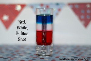 red, white, blue shot