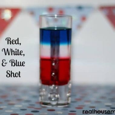 red white and blue shot in a shotglass