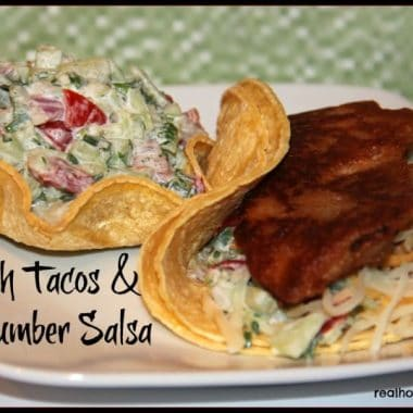 fish tacos and cucumber salsa on plate