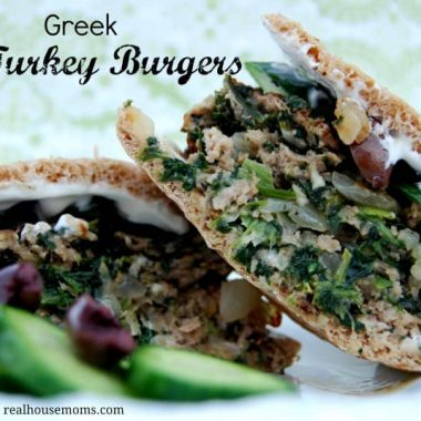 greek turkey burgers close up
