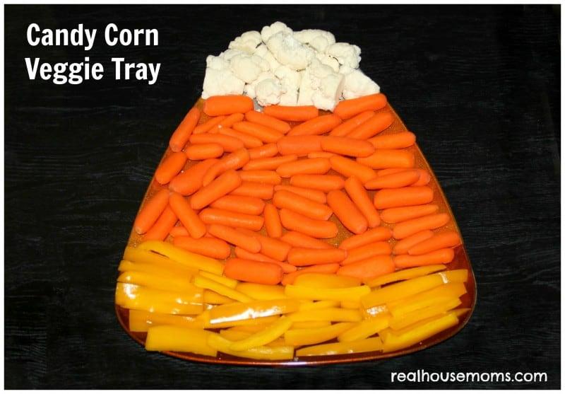 candy corn veggie tray on platter