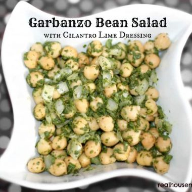 garbanzo bean salad in a bowl
