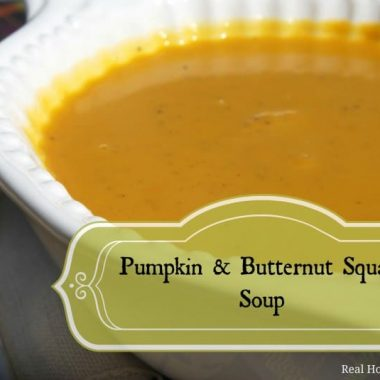pumpkin and butternut squash soup in a bowl