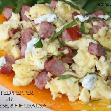 roasted pepper with egg, cheese, and kielbasa closeup