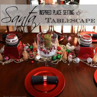 santa inspired place setting and tablescape