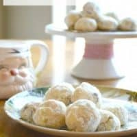 chocolate snowballs on plate and cakestand