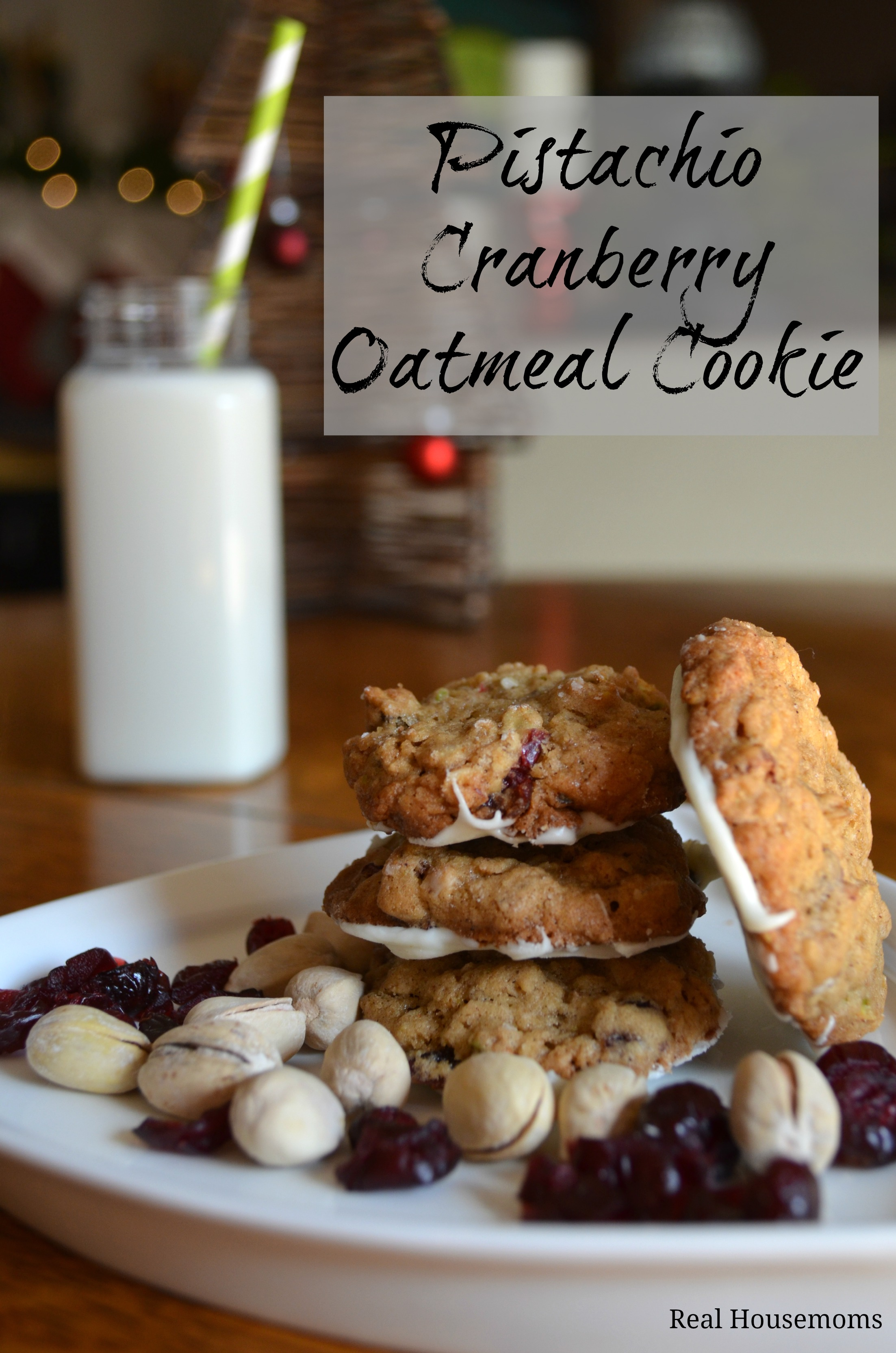 Pistachio & Cranberry Oatmeal Cookies {The Great Food Blogger Cookie ...