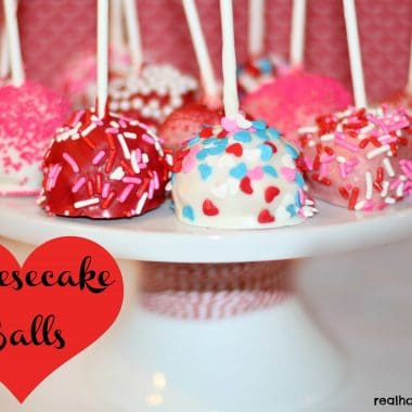 valentines themed cheesecake balls on a cakestand