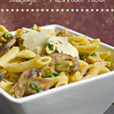 butternut squash sausage and mushroom pasta in a bowl