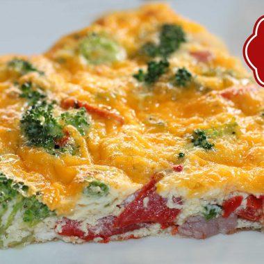 Cheesy Broccoli Ham & Pepper Frittata