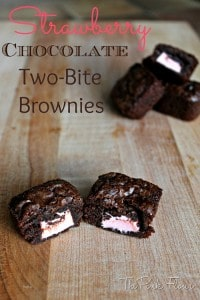 Strawberry Chocolate Two-Bite Brownies from The Pink Flour