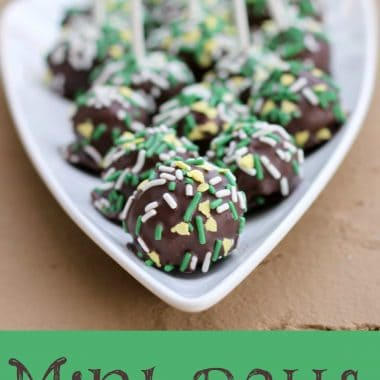mint chocolate balls with sprinkles on a white plate