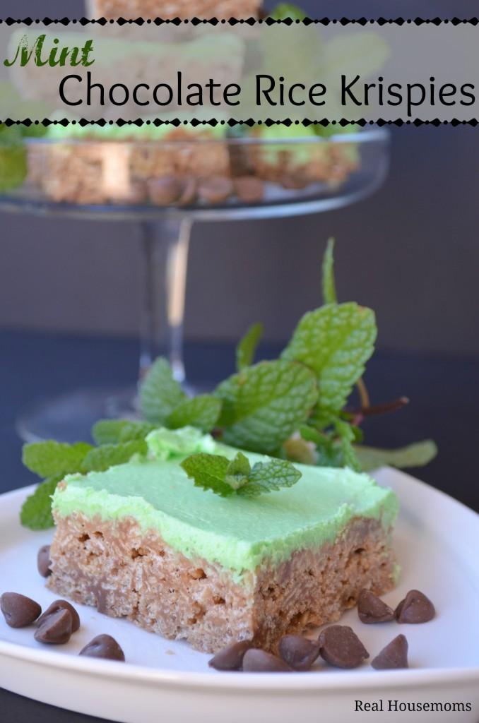 Mint Chocolate Rice Krispies | Real Housemoms