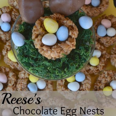 Candied coated chocolate eggs in edible nest bowls on a yellow plate