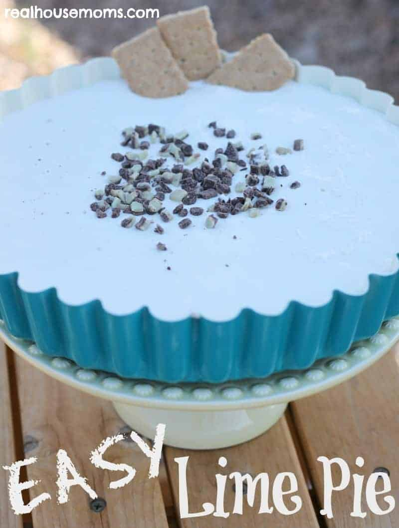 lime pie in a blue serving bowl