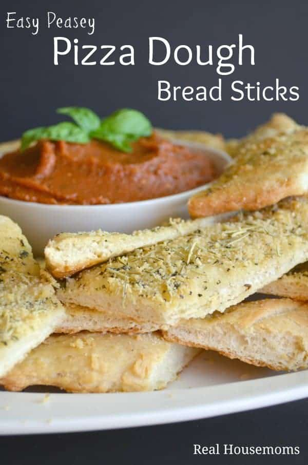 Easy Peasey Pizza Dough Bread Sticks | Real Housemoms #Pizza #pizzadough #breadsticks