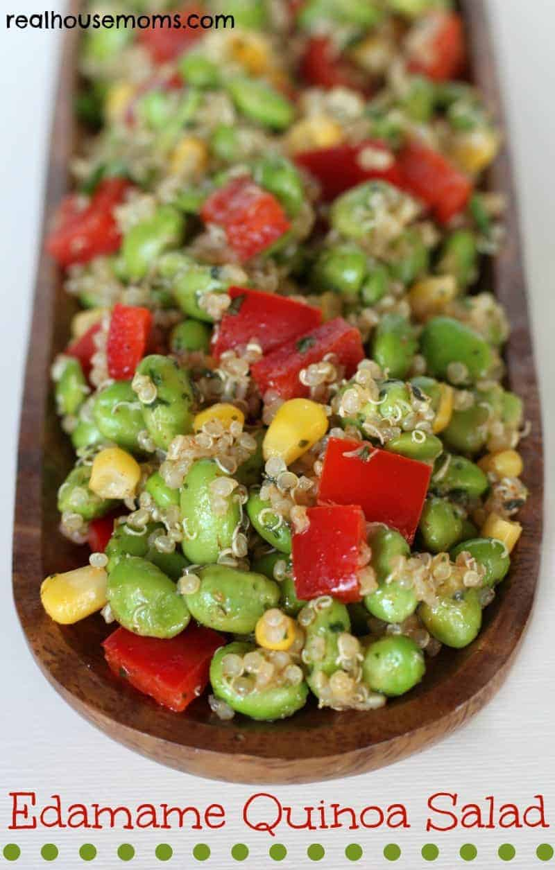 Edamame Quinoa salad in a wooden boat bowl