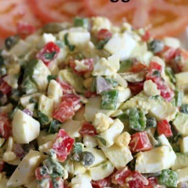 jalapeno, caper & avocado egg salad on a plate