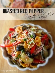 Roasted Red Pepper Pasta Salad from Simply Gloria