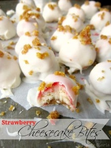 White Chocolate Covered Strawberry Cheesecake Bites from Simply Gloria