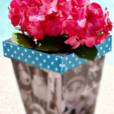 photo planter with flowers