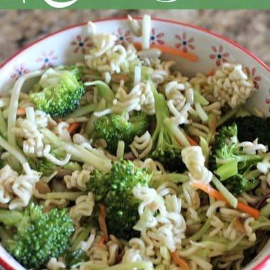 Ramen noodle salad with broccoli in a decorative bowl