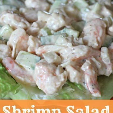 shrimp salad on top of bed of lettuce