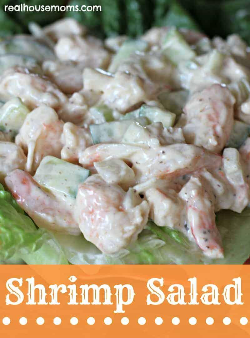shrimp salad on top of bed of lettuce
