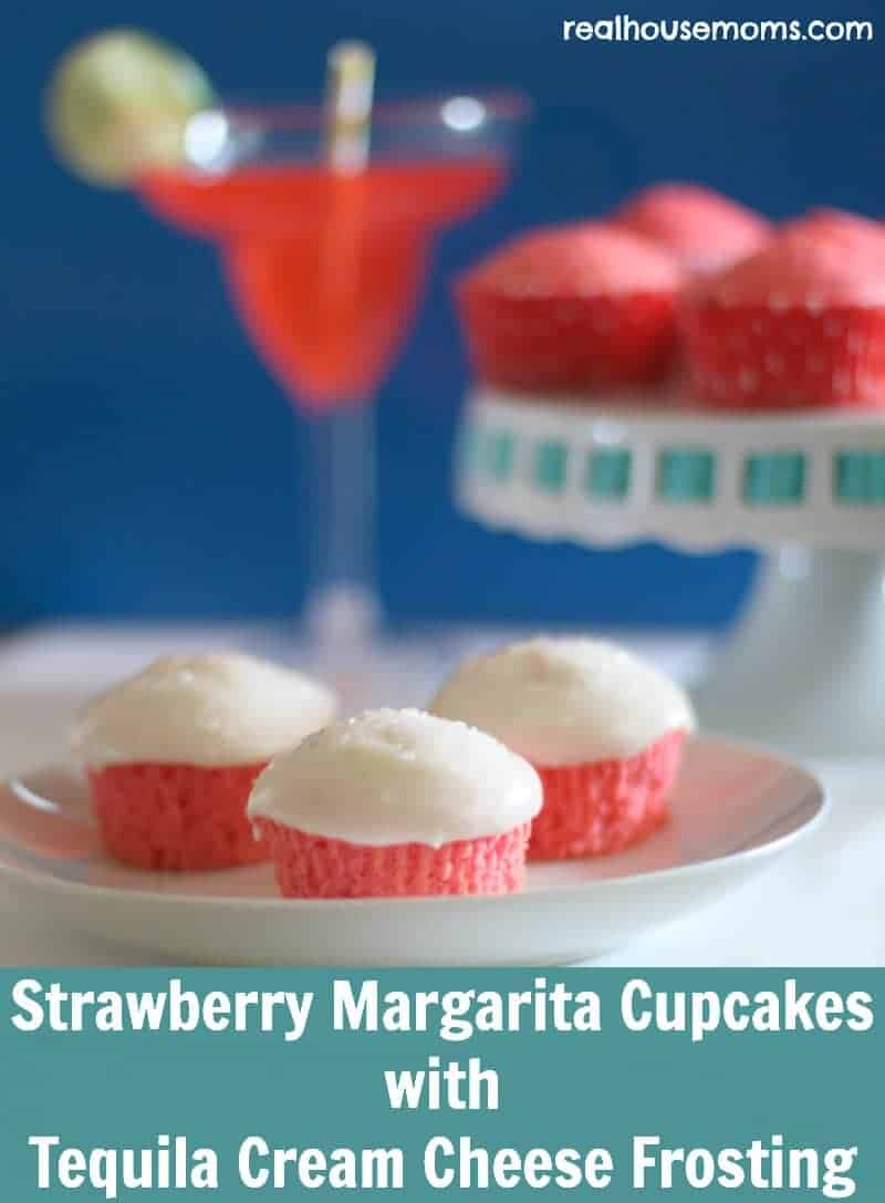 strawberry margarita cupcakes on a plate