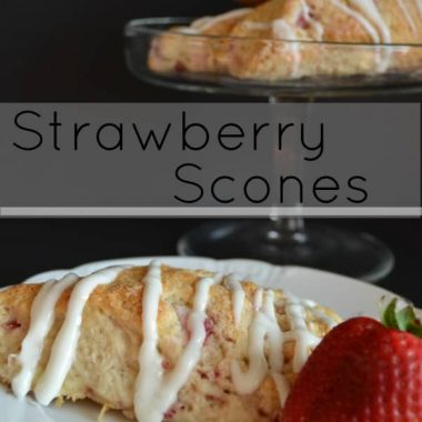 Strawberry Scones on a plate with strawberry