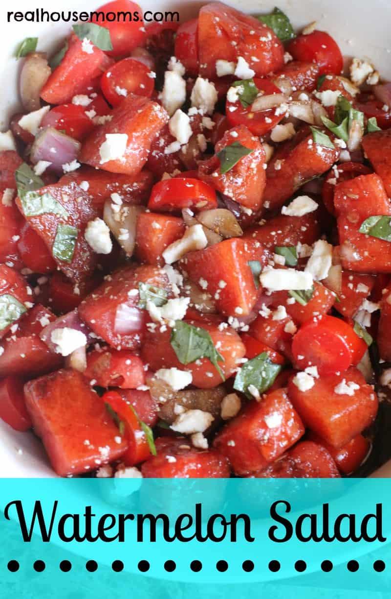 watermelon salad in a white bowl
