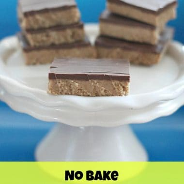 no bake chocolate & peanut butter bars on a cake stand