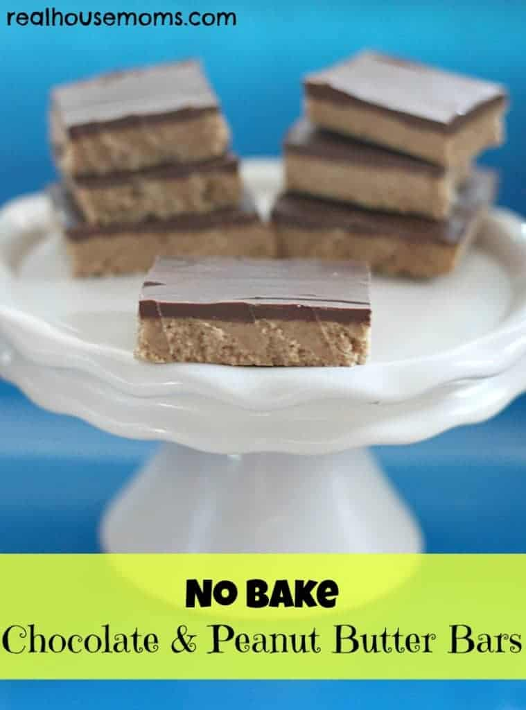 NO BAKE Chocolate and Peanut Butter Bars