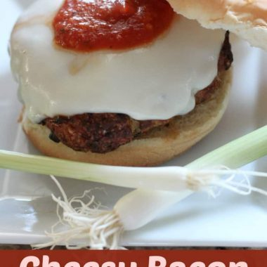 cheesy chicken bacon burger on a plate