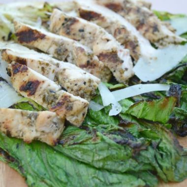 Grilled Romaine Salad with Pesto Chicken