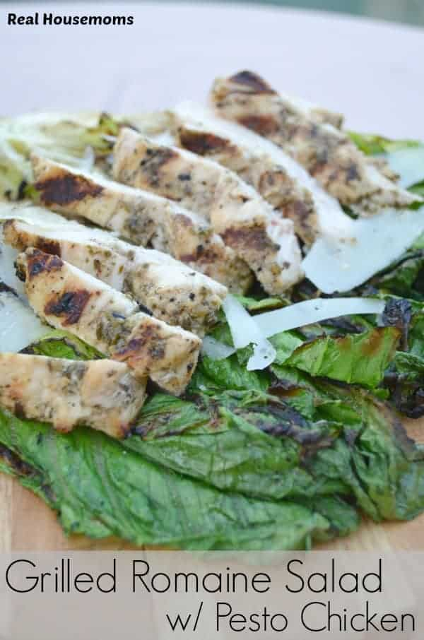Grilled Romaine Salad with Pesto Chicken | Real Housemoms