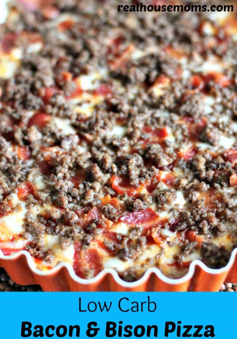 low carb bacon and bison pizza in a red serving bowl
