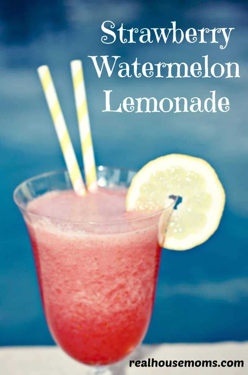 strawberry watermelon lemonade garnished with lemon in a glass