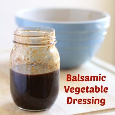 balsamic vegetable dressing in mason jar