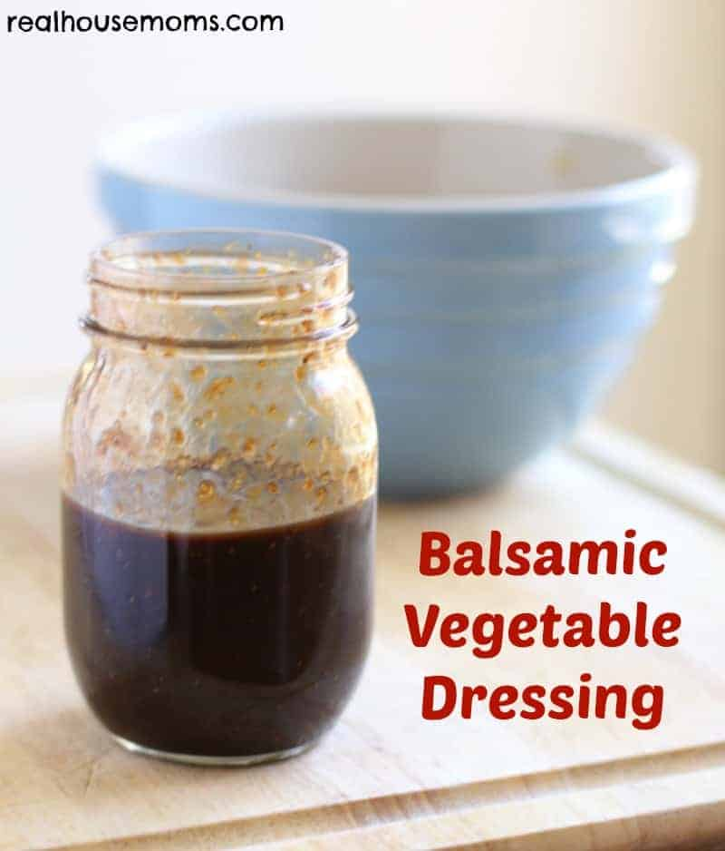 balsamic vegetable dressing in mason jar