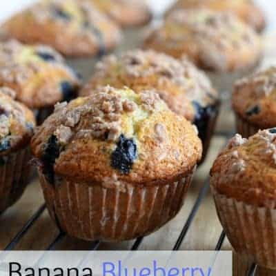 Banana Blueberry Crumb Muffins