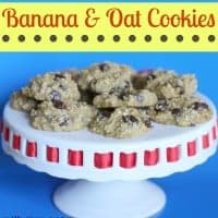 banana & oat cookies on a cake stand